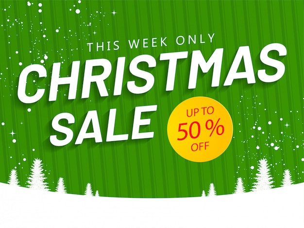 Christmas sale banner or poster  with 50% discount offer and xmas tree on green striped pattern and snowy .