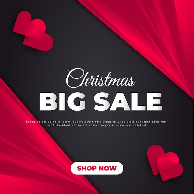 Christmas sale banner or poster with black and red concept