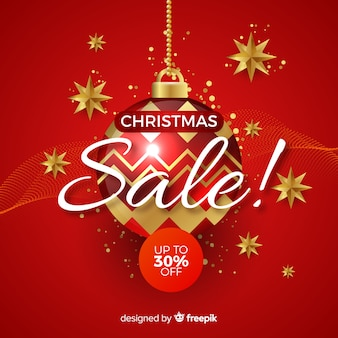 Christmas sale banner realistic design