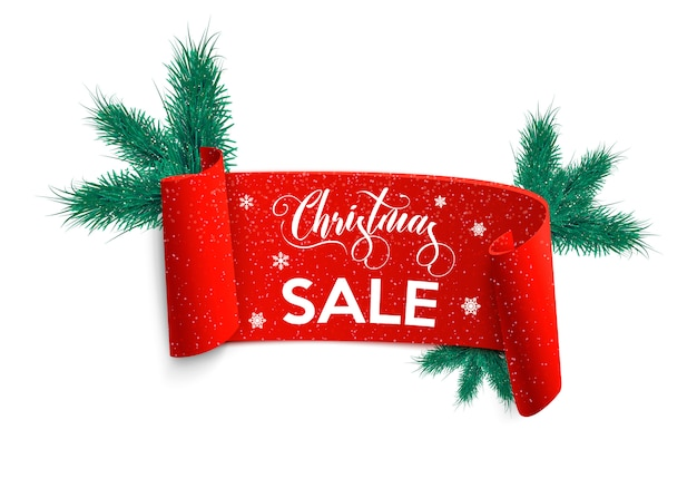 Christmas sale banner. red ribbon with fir branch.