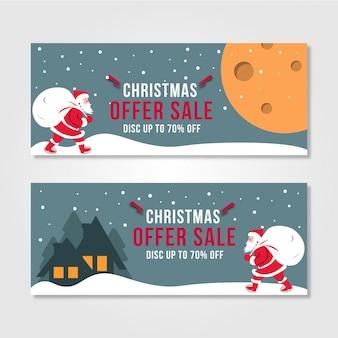 Christmas sale banner santa