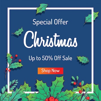 Christmas sale banner for shopping sale or promo with colorful leaves