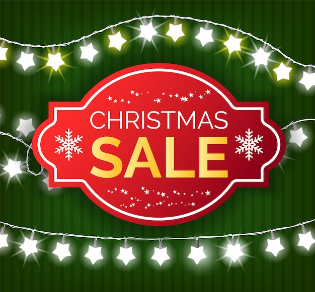 Christmas sale banner, special offer on gifts in shops