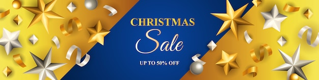 Christmas sale banner streamers and golden stars