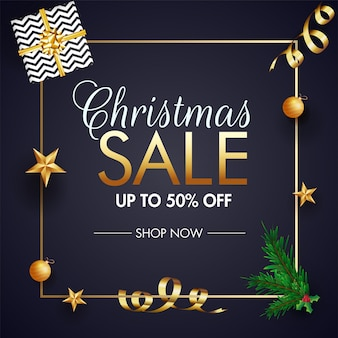 Christmas sale banner template design.