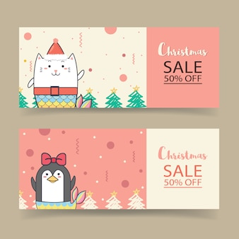 Christmas sale banner template design