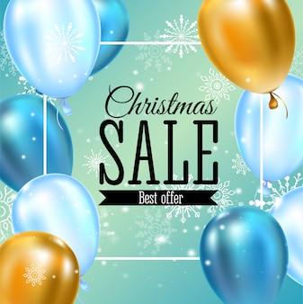 クリスマスセールのバナーテンプレートのタイポグラフィ、金色と青の風船、チラシ、ポスター、web、バナー、カードの雪片の装飾