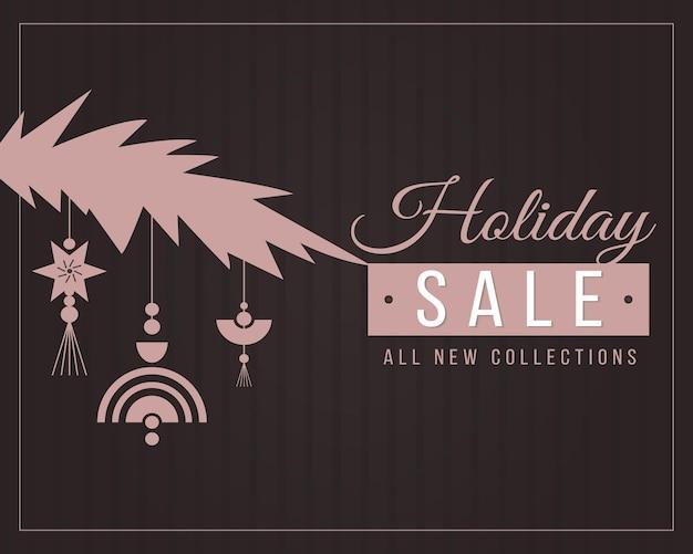 Рождественские продажи баннер шаблон с черноватым фоном