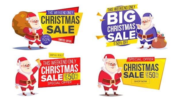 Christmas sale banner template with classic santa claus