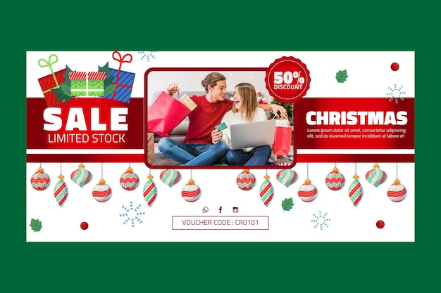 Рождественская распродажа баннер шаблон