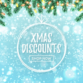 Christmas sale banner. vector template for xmas discounts promotion.