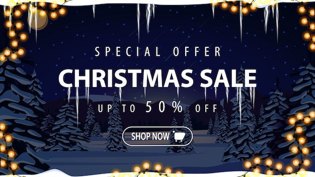 Christmas sale banner with blue night in winter landscape
