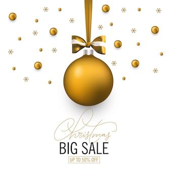 Christmas sale banner with bow and christmas golden ball. holiday sale banner. vector christmas template