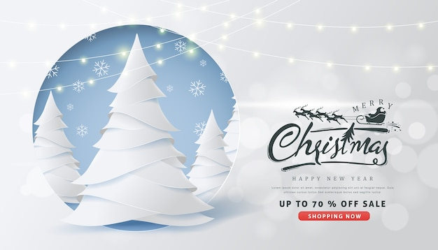 Christmas sale banner with calligraphic christmas lettering and santa claus sleigh reindeers