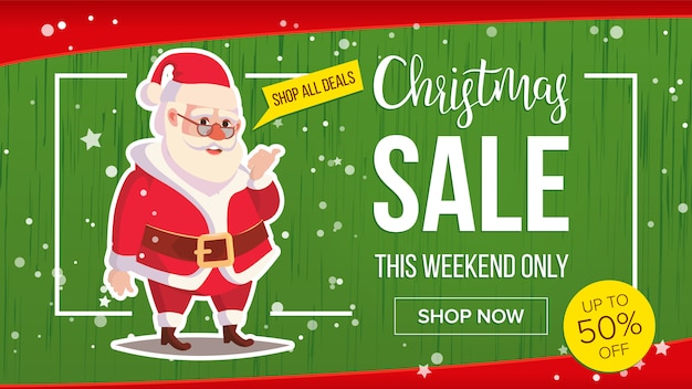 Christmas sale banner with classic santa claus