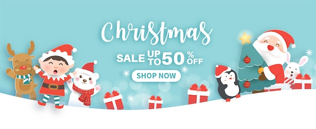 Christmas sale banner with a cute santa clasue and friends in paper cut style.