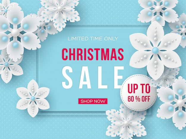 Christmas sale banner with decorative snowflakes.