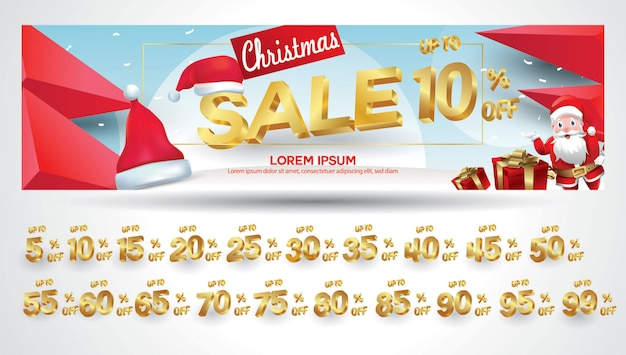 Christmas sale banner with discount tag 10,20,30,40,50,60,70,80,90,99 percent