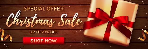 Christmas sale banner with gift box. .