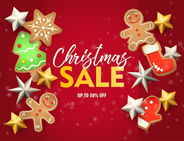 Christmas sale banner with ginger bread on red ground
