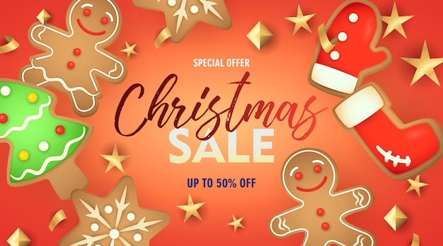 Christmas sale banner with gingerbread cookies