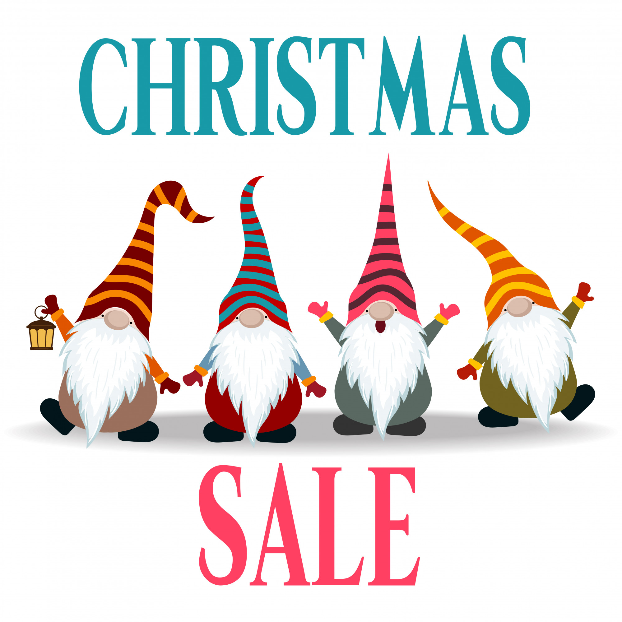 Christmas sale banner with gnomes