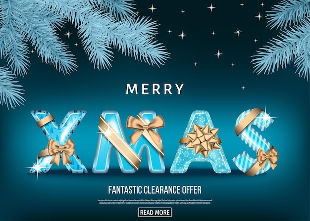 Christmas sale banner with golden and blue decorative letters with  gold gift bow, ribbon  and  fir branch. xmas background. winter holiday special offer. vector template.