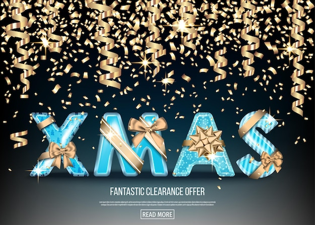 Christmas sale banner with golden and blue decorative letters with  gold gift bow, ribbon  and  streamer. xmas text on black background. winter holiday special offer. vector template.