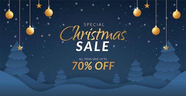 Рождественская распродажа баннер с золотым украшением