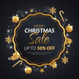 Рождественская распродажа баннер с золотым венком