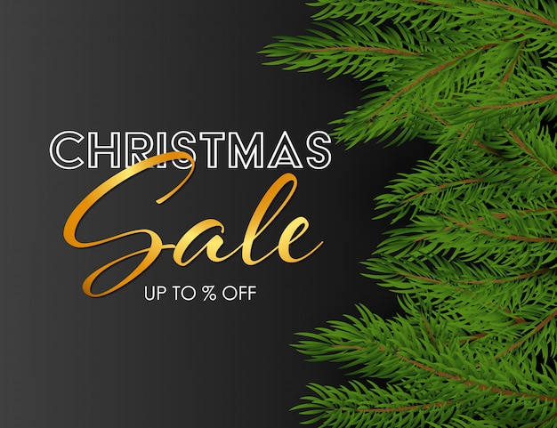 Christmas sale banner with green fir branches