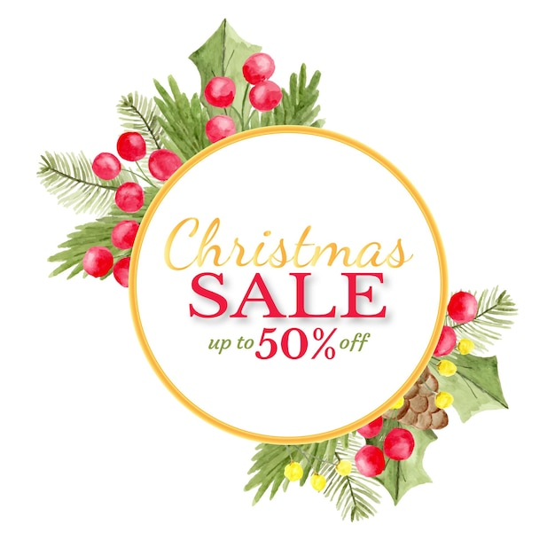 Christmas sale banner with hand painted floral watercolor as background