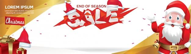 모자 산타 클로스와 기하학적 컨셉 디자인 크리스마스 판매 배너
