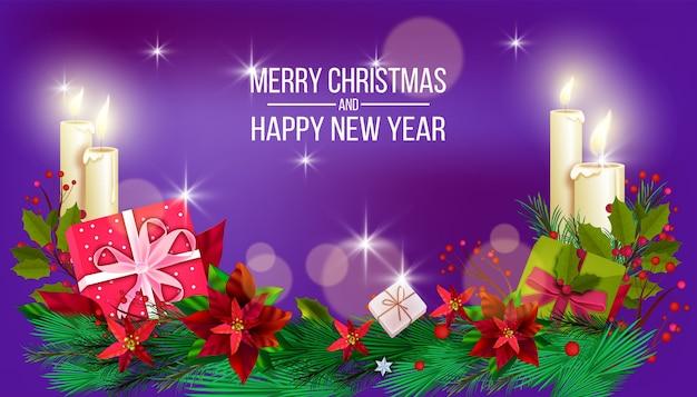 휴일 상록 식물, 선물 상자, 홀리, 포 인 세 티아, 전나무 가지 크리스마스 판매 배너. 색종이, 선물, 리본 활 겨울 x-mas 엽서. 크리스마스 계절 판매 그림