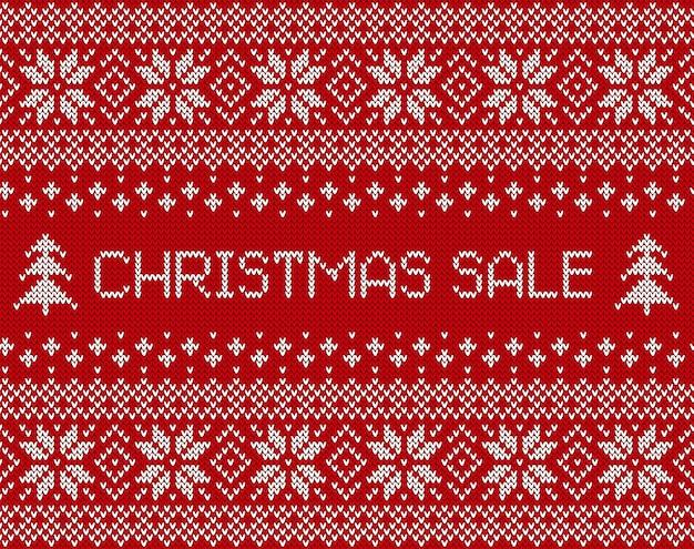 Рождественская распродажа баннер с вязанной текстурой