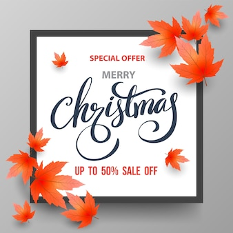 Christmas sale banner with maples.