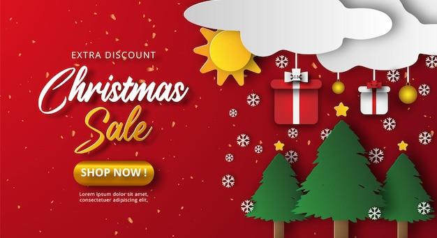 赤い色の背景に紙カットスタイルのクリスマスセールバナー