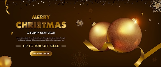 Christmas sale banner with realistic christmas decoration