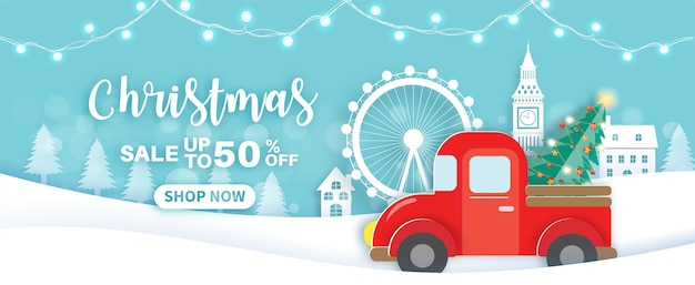 Christmas sale banner with a red car.