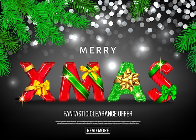 Christmas sale banner with red and green decorative letters with  gift bow, ribbon  and  fir branch. xmas text on black background. winter holiday special offer. vector template.