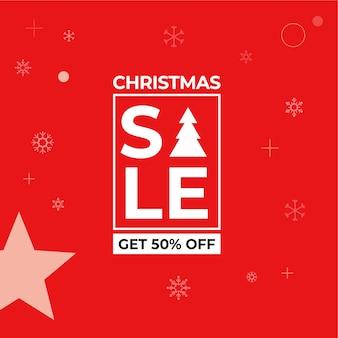 빨간 페이지와 크리스마스 판매 배너 free vecto