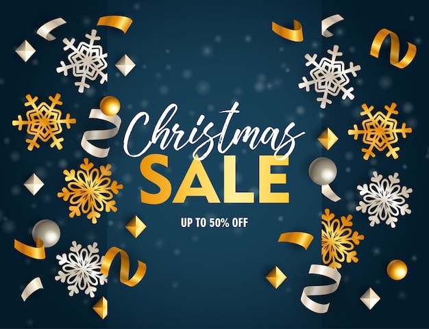 Christmas sale banner with ribbons and flakes on blue ground