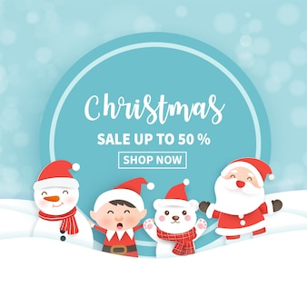 Christmas sale banner with santa clause and friends