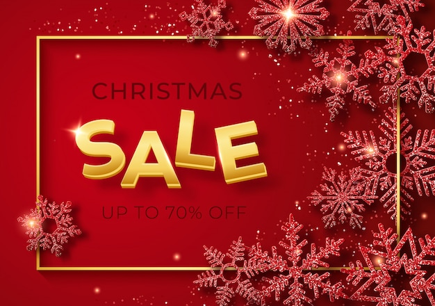 Christmas sale banner with shining snowflakes and confetti