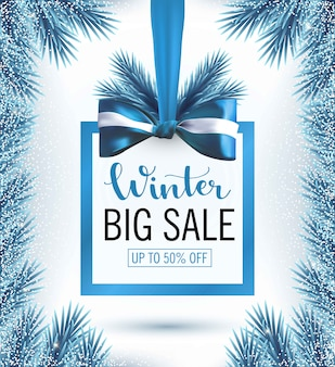 Christmas sale banner with snow blue christmas tree branches frame and bow banner. big winter sale,promotion