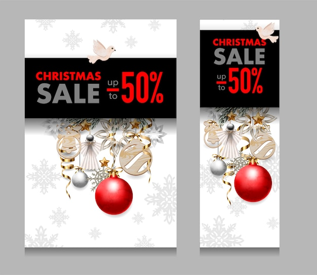 Christmas sale banner with snowflakes, balls and pines.