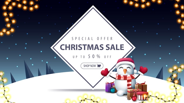 Christmas sale banner with snowman in santa claus hat with gifts