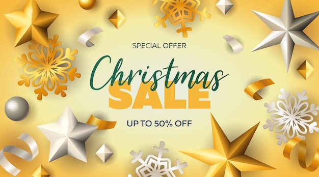 Christmas sale banner with stars and snowflakes