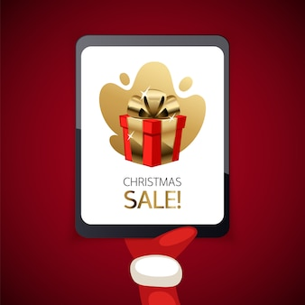 Christmas sale banner with tablet