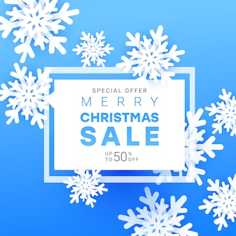 Christmas sale banner with volumetric snowflakes, frame and text